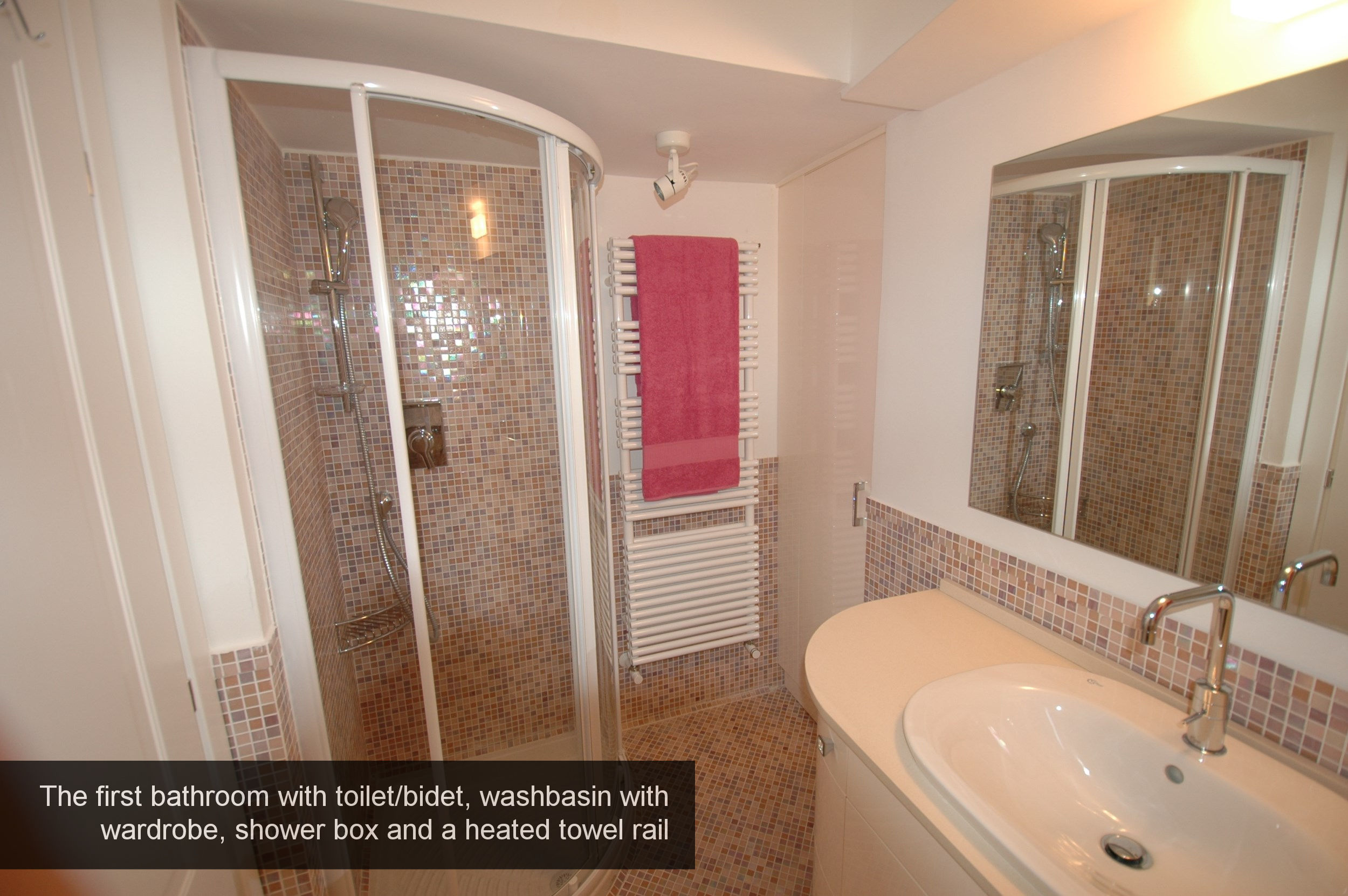 14) The first bathroom with box shower, washbasin, toilet bidet and wa...