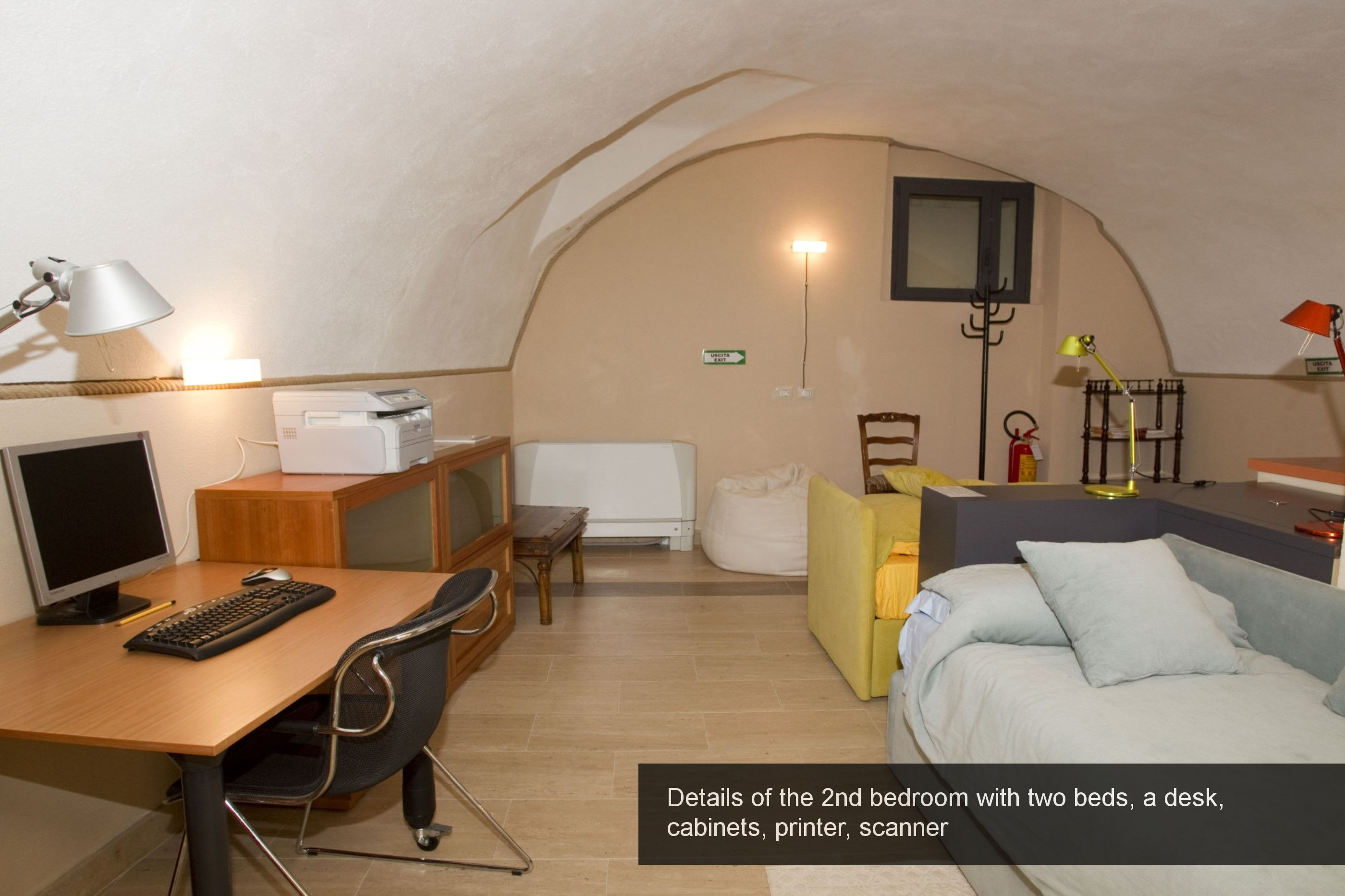 16) details 2nd bedroom with two beds, a desk, cabinets, printer, scanne...