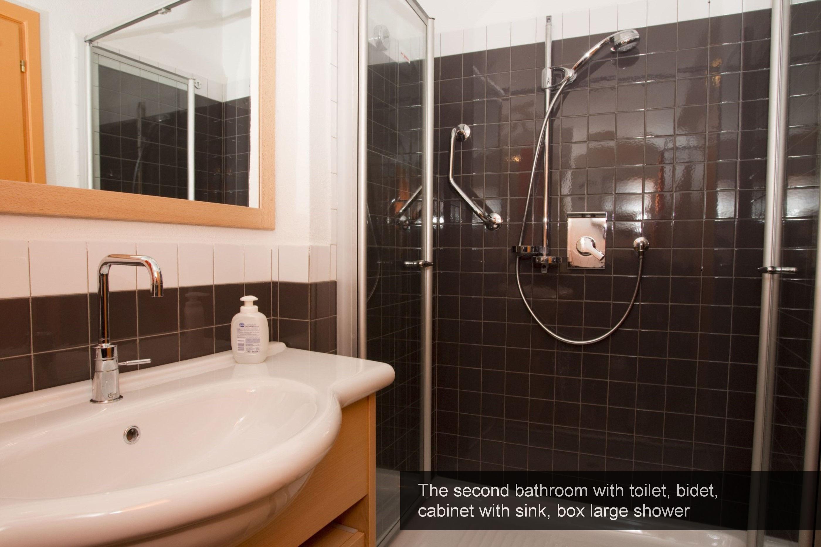 18) second bathroom, toilet, bidet, cabinet with sink, box large shower