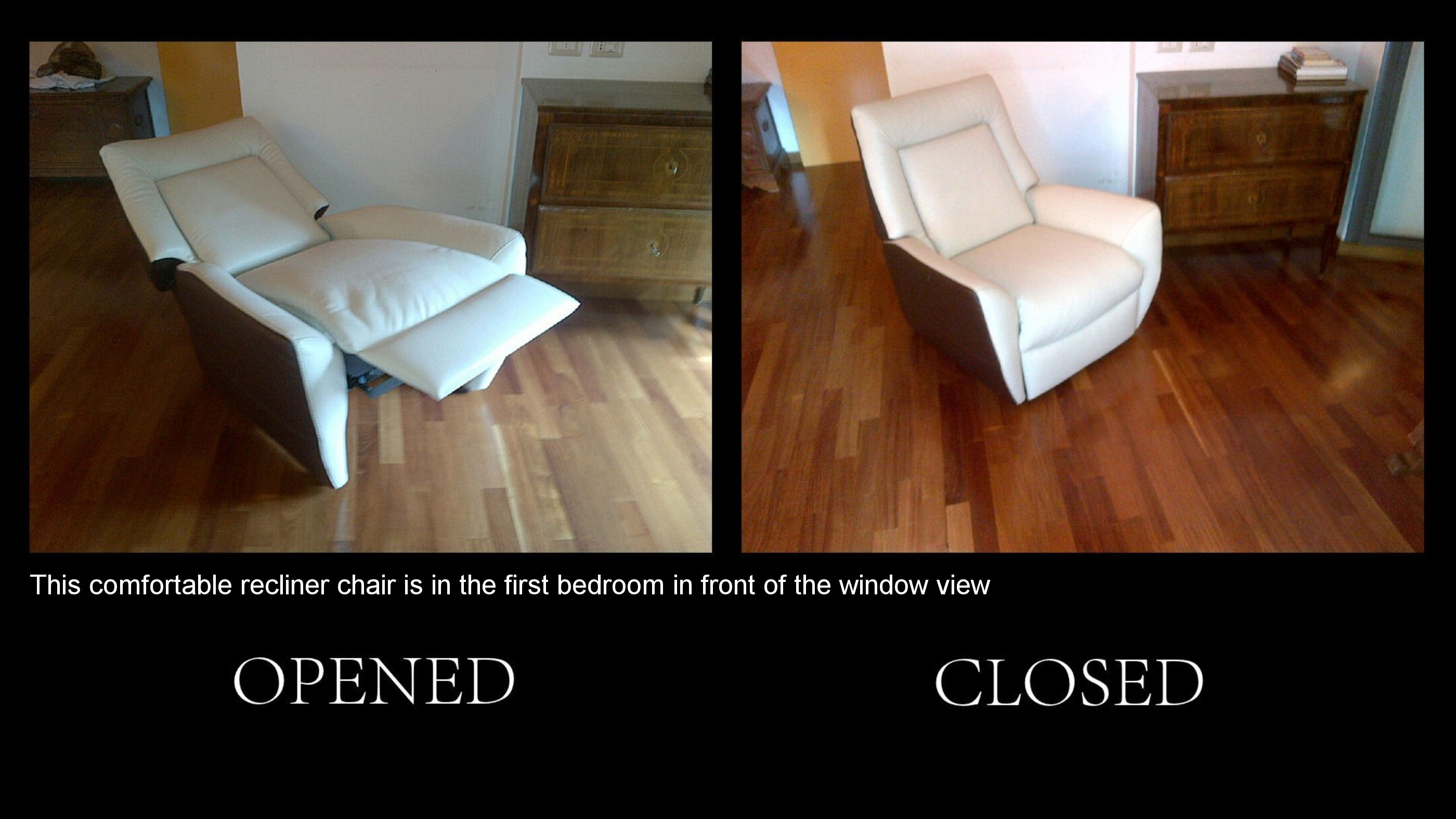 25) this comfortable recliner is in the first bedroom, window view