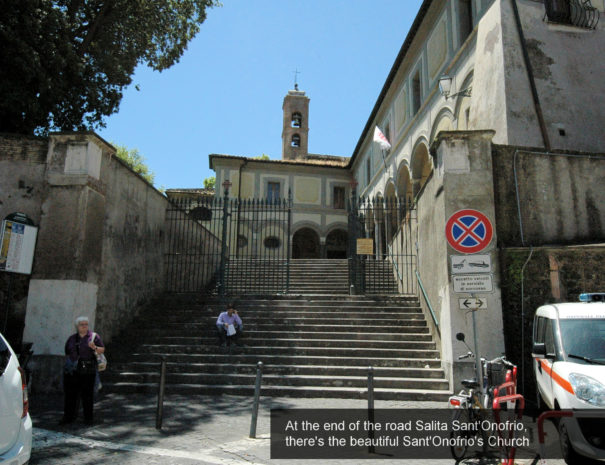 28) at the end of the road, Salita Sant'Onofrio, there is the Church San...
