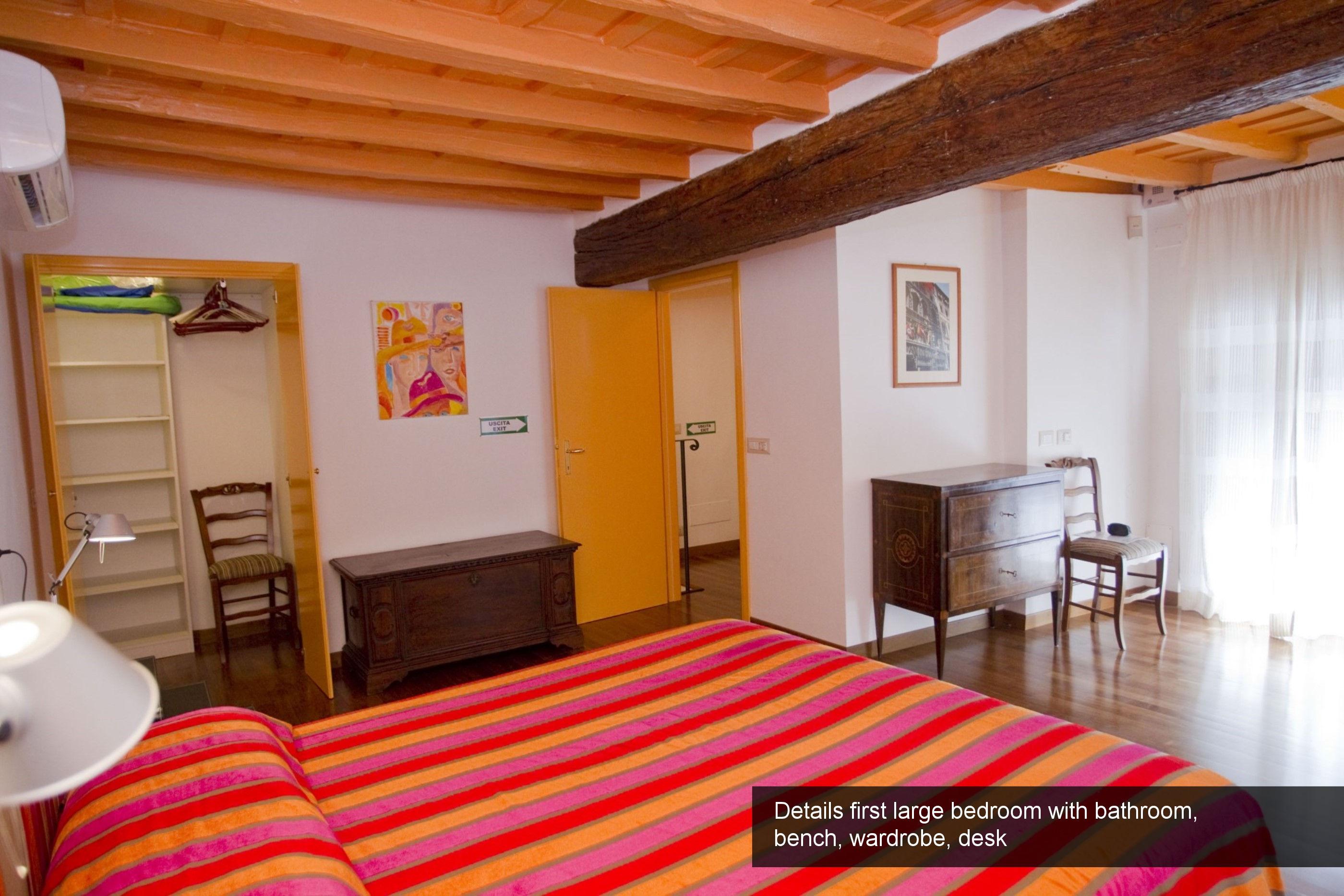 8) Details first large bedroom with bathroom_ bench, wardrobe, desk
